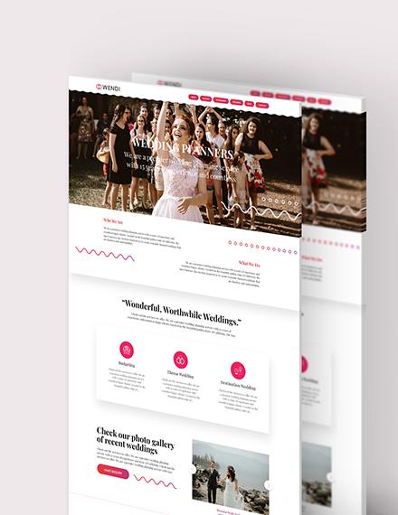 Sample Wedding Planners Landing Page