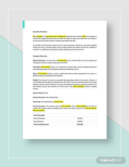 Clothing Line Business Plan Download