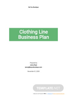 Clothing Line Business Plan Template