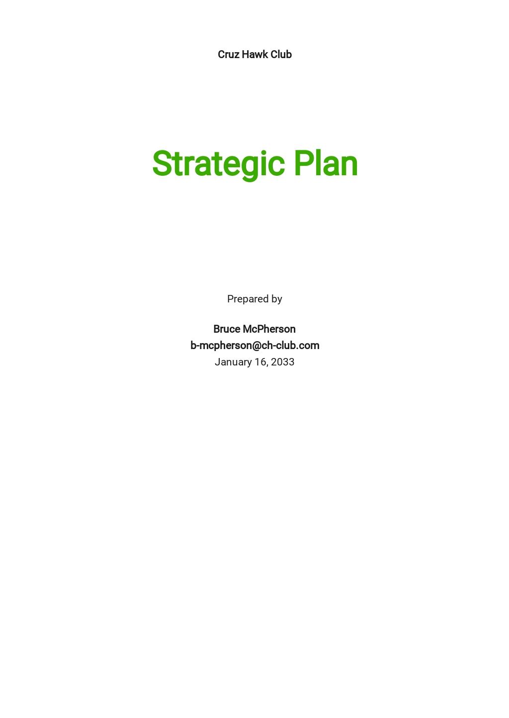 Club Strategic Plan Template