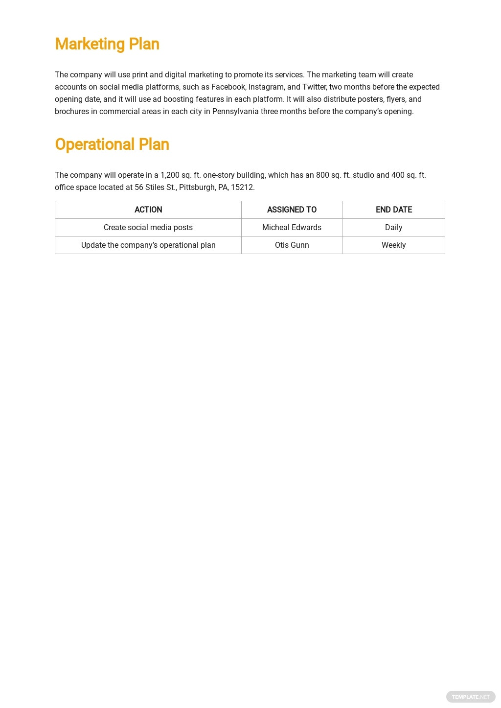 Sample Commercial Photography Business Plan Template 3.jpe
