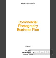 Sample Commercial Photography Business Plan Template
