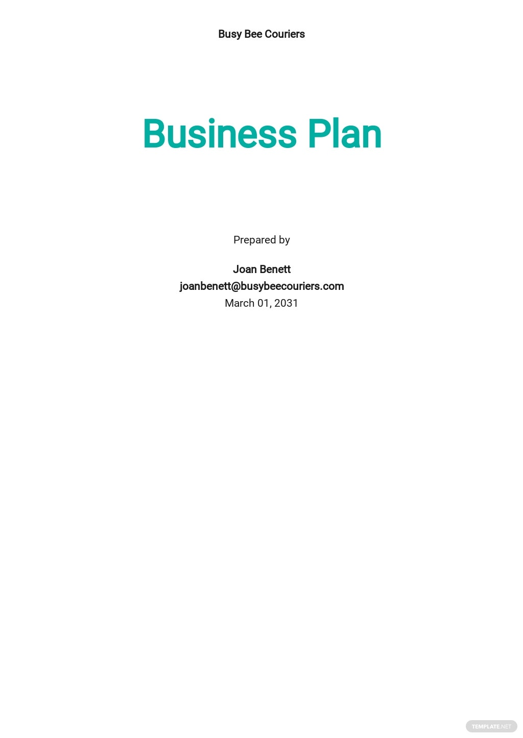 Courier Business Plan Template