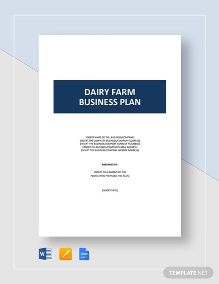 Dairy Farm Business Plan Template