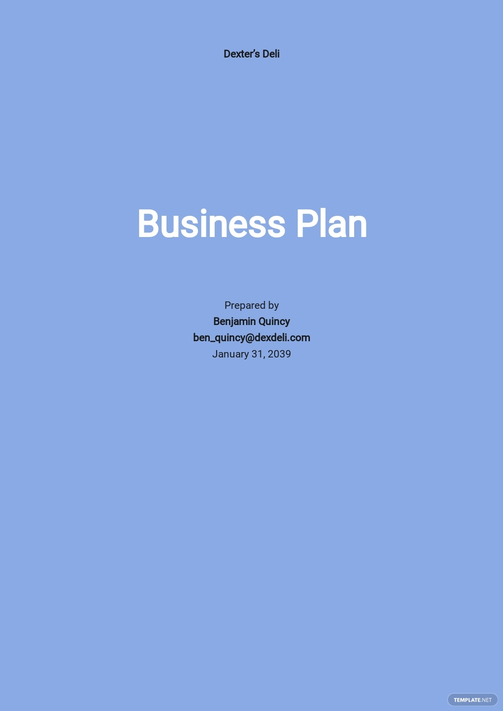 Deli Business Plan Template