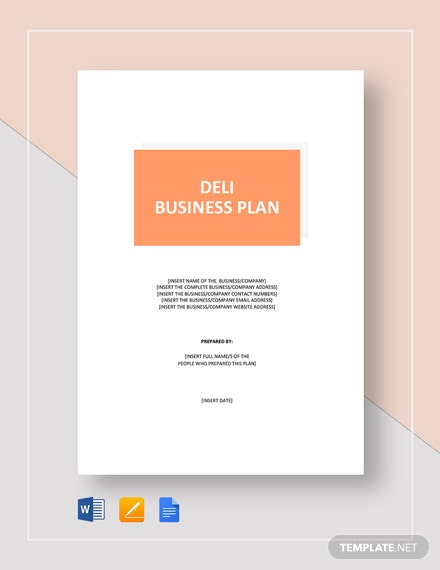 Deli Business Plan Template