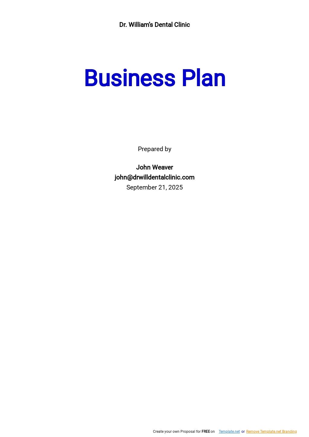 Dental Clinic Business Plan Template.jpe