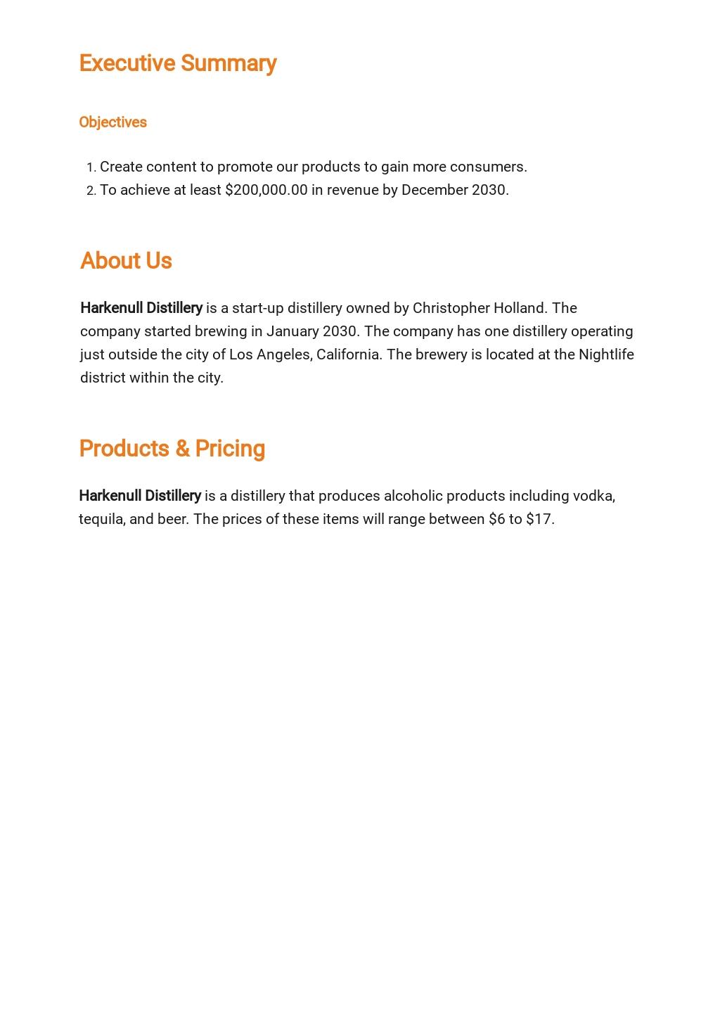 Distillery Business Plan Template [Free PDF] - Google Docs, Word