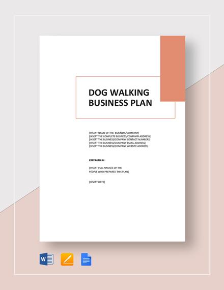 Dog Walking Business Plan Template