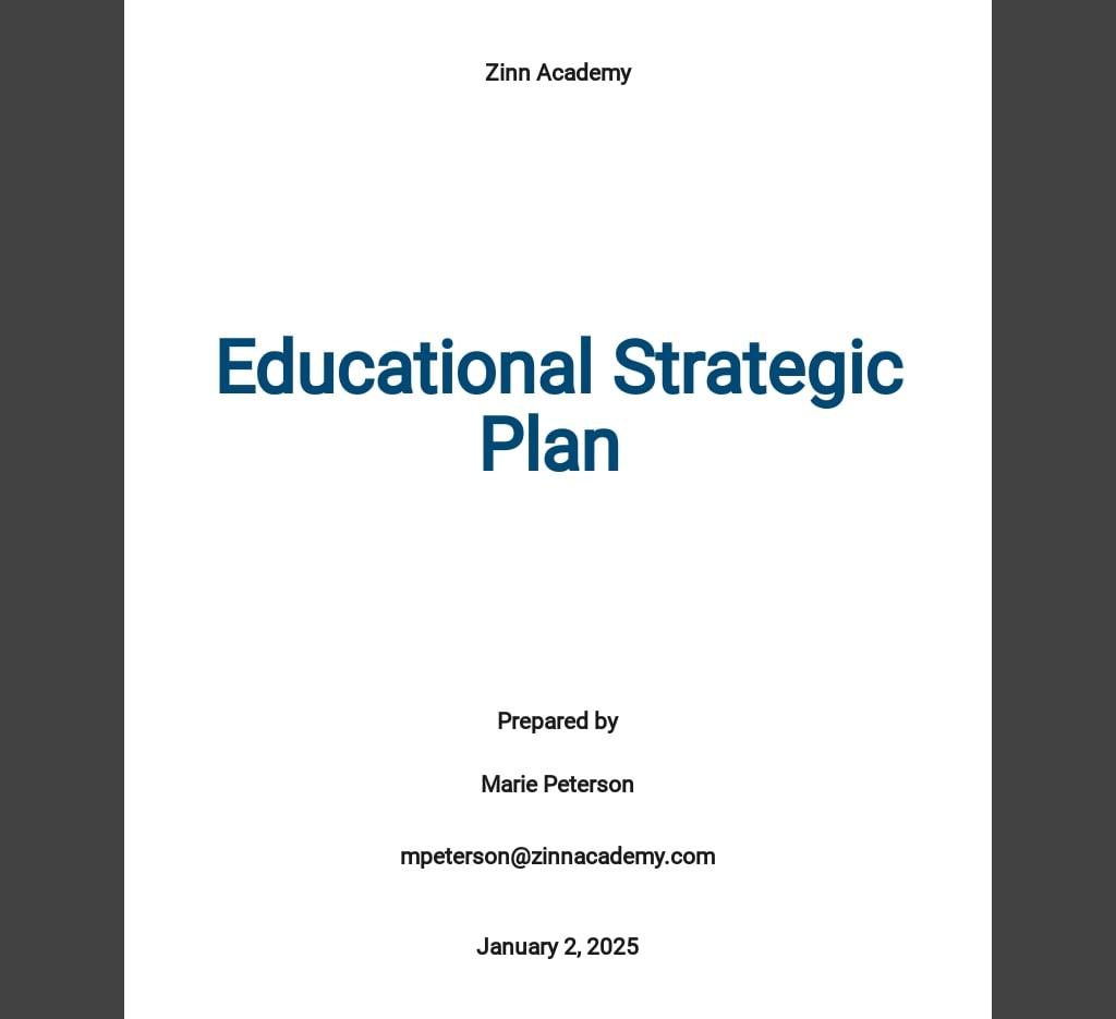 Educational Strategic Plan Template