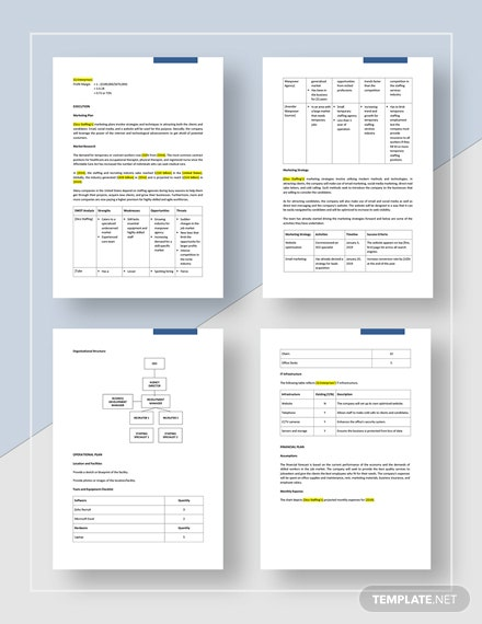 Sample Employment Agency Business Plan
