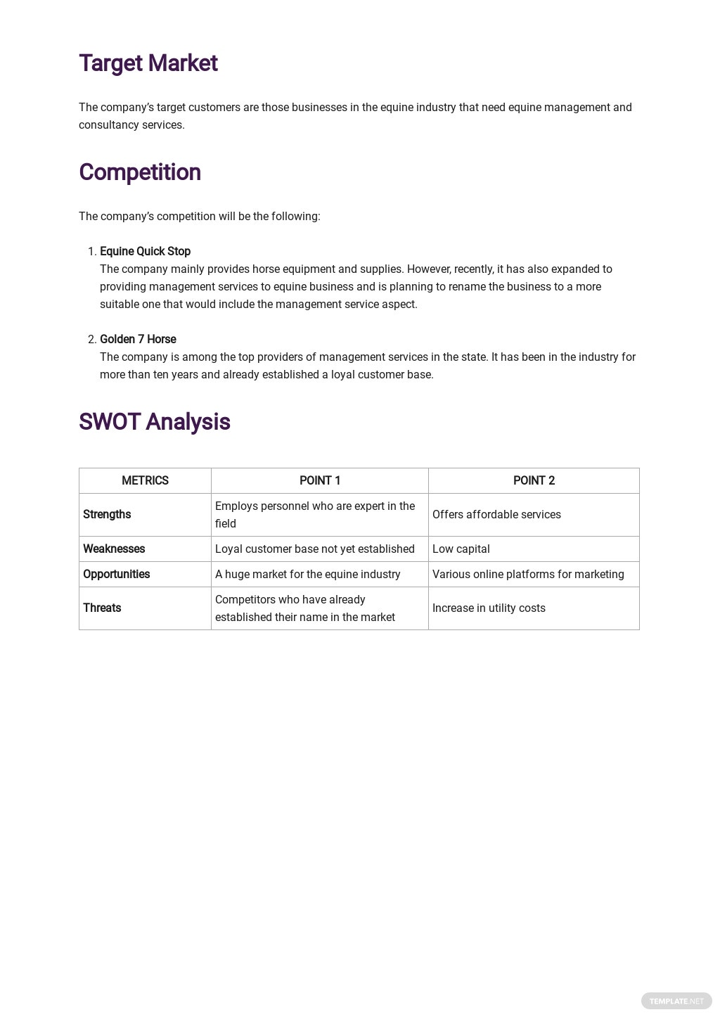 Equine Business Plan Template [Free PDF] - Google Docs, Word, Apple Pages