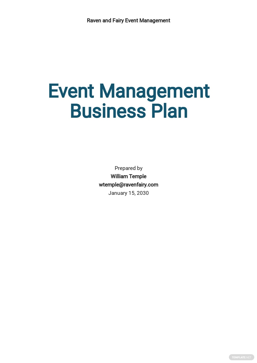 Event Management Business Plan Template