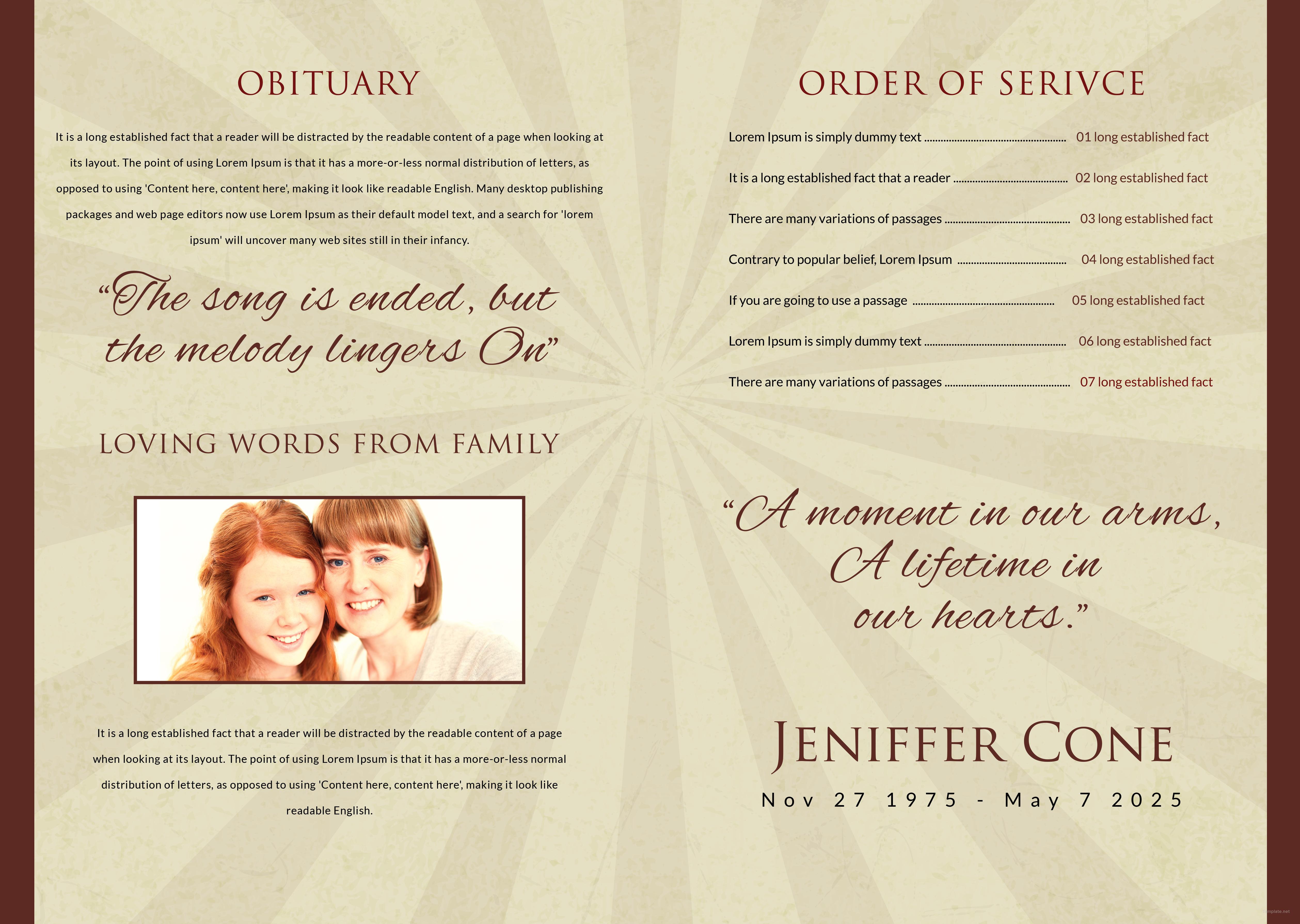 Free Obituary Bi-Fold Brochure Design Template in Adobe Photoshop ...