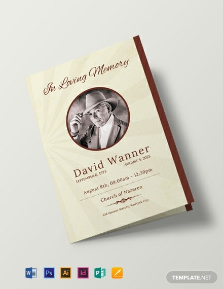 Free Obituary Bi-Fold Brochure Design Template