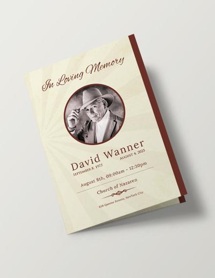 Free Obituary Bi-Fold Brochure Design Template