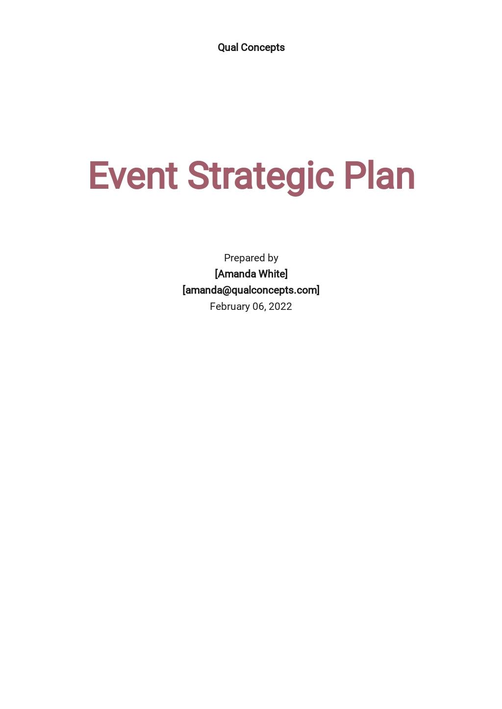 Event Strategic Plan Template
