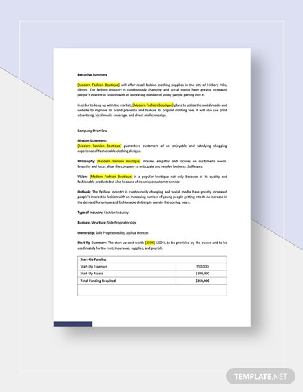 Fashion Business Plan Template Word Doc Google Docs Apple Mac Pages Template Net