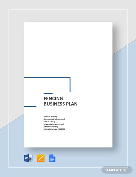 Fencing Business Plan Template