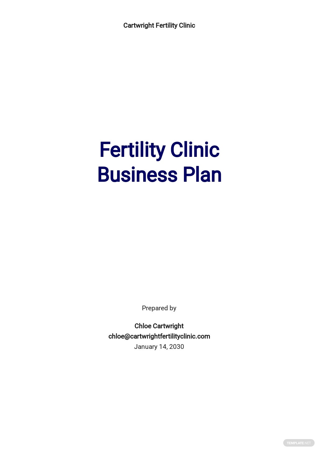 Fertility Clinic Business Plan Template