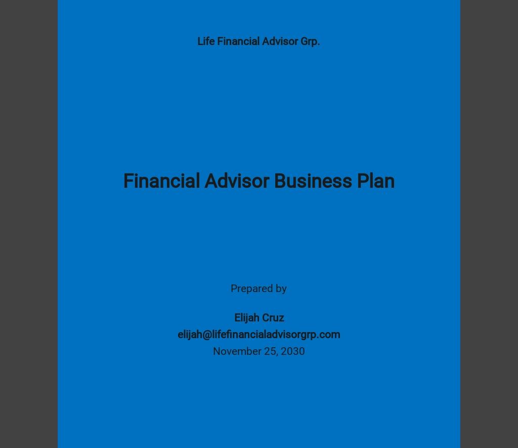 Financial Advisor Business Plan Template