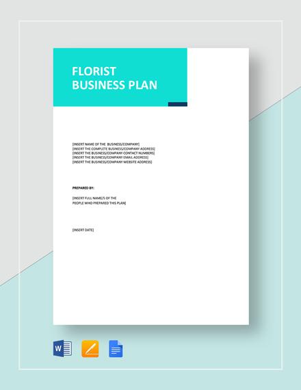 Flower Shop / Florist Business Plan Template