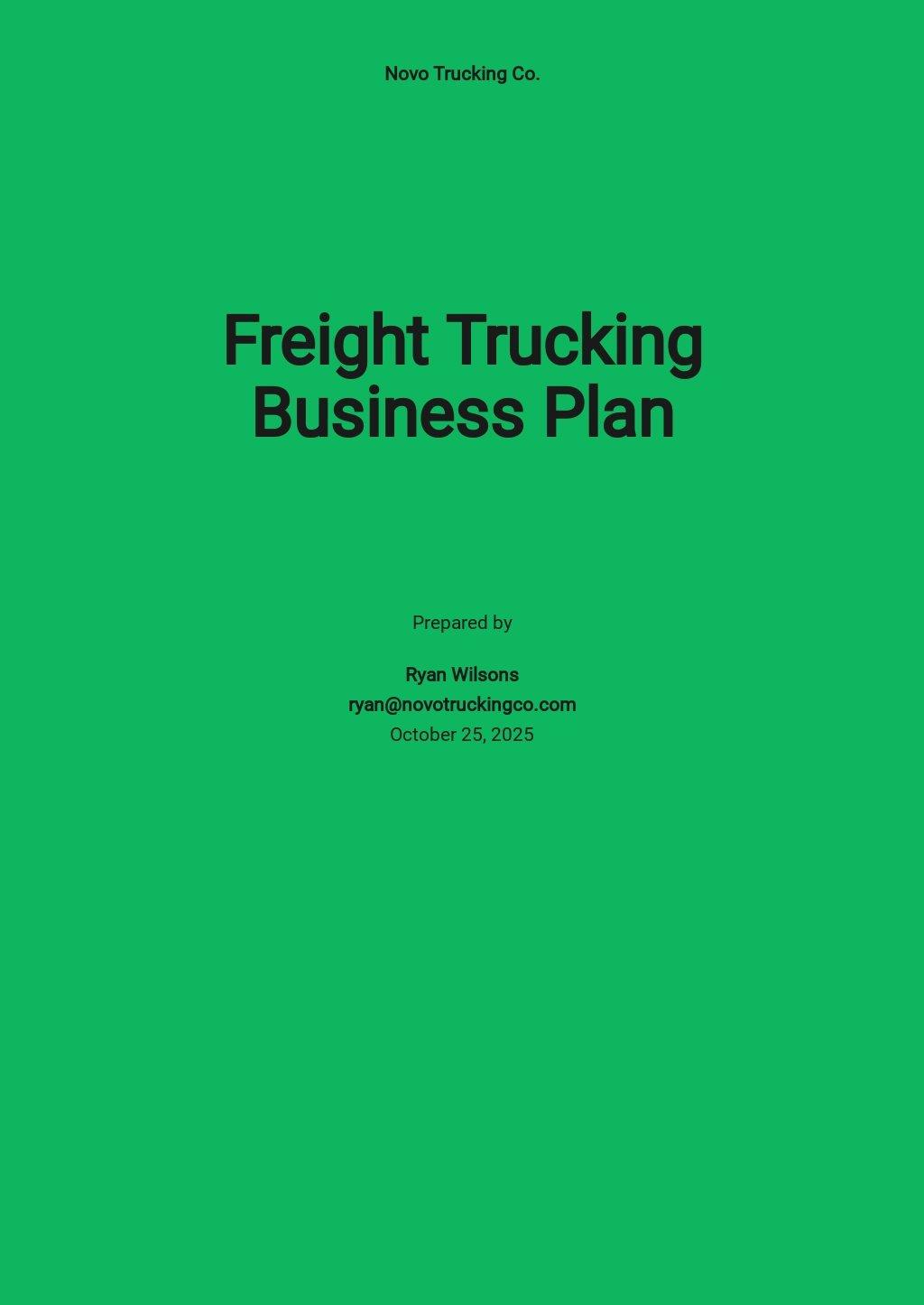 Freight Trucking Business Plan Template