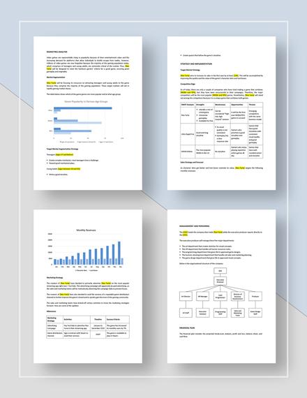 Game or Game Studio Marketing Plan Download