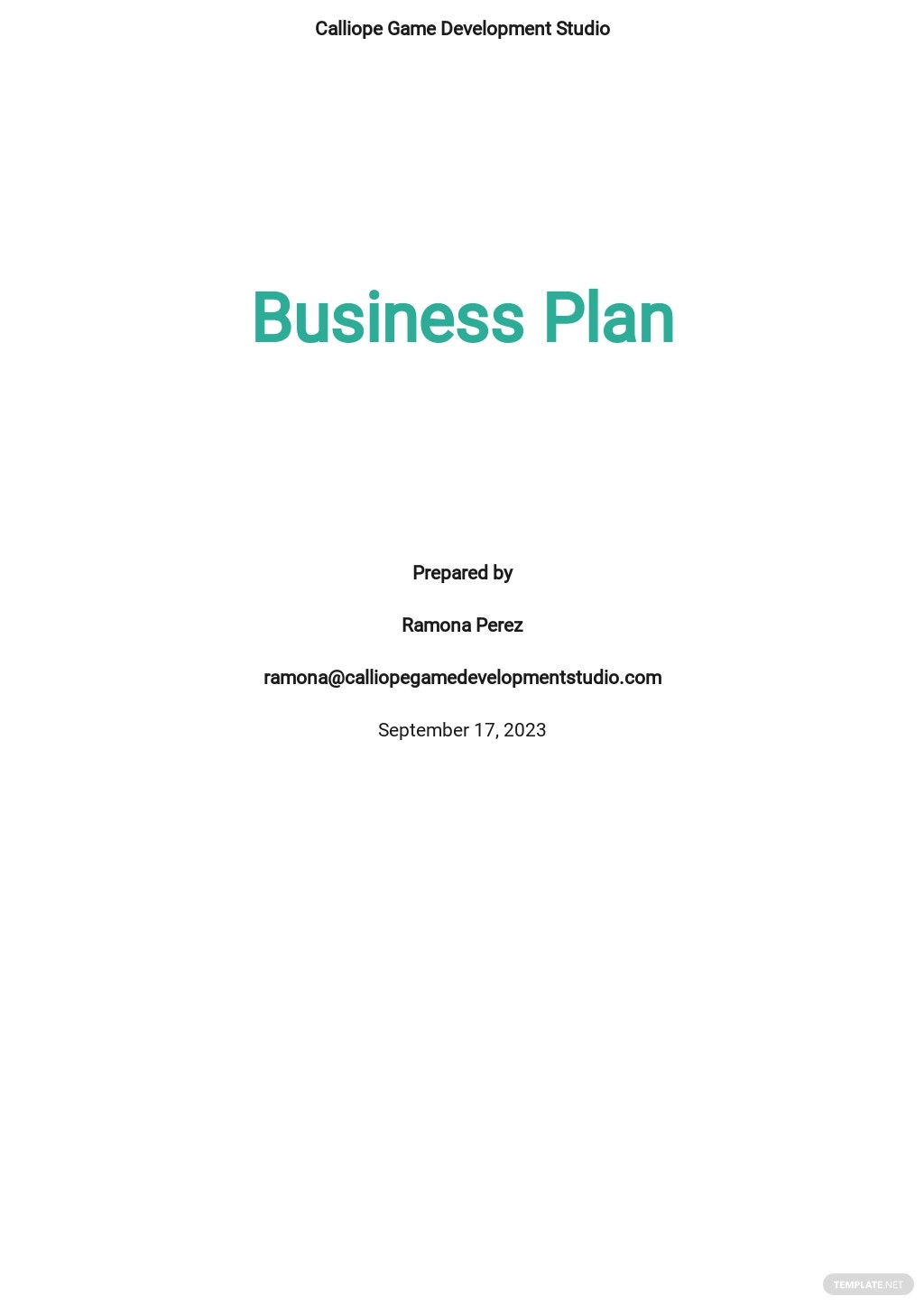 Game / Game Studio Business Plan Template
