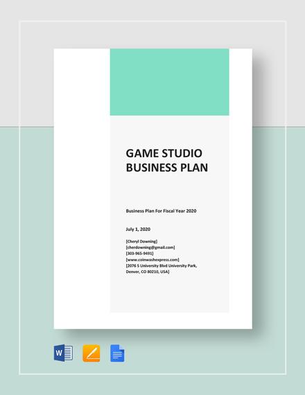 Game / Game Studio Business Plan Template