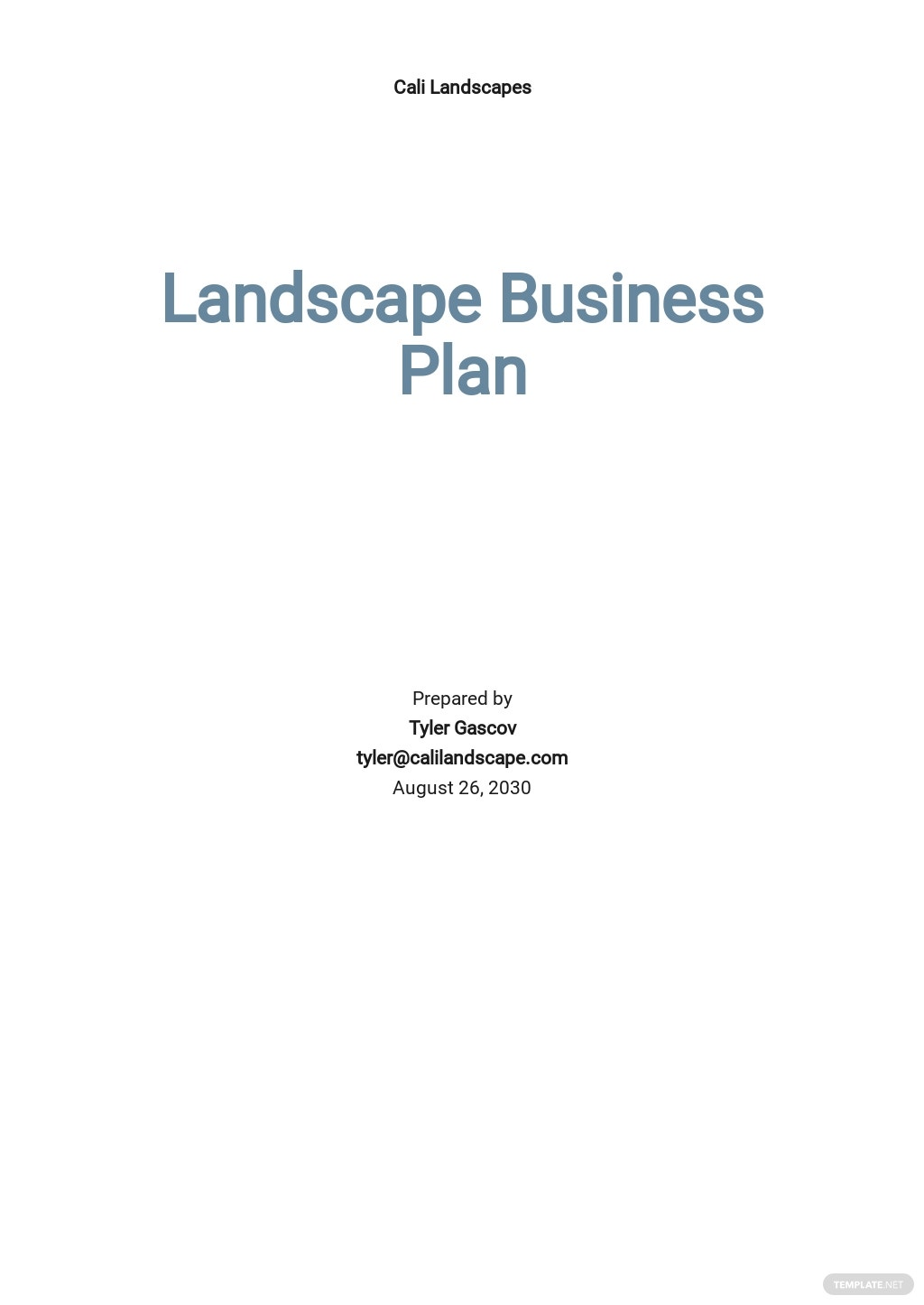 Gardening / Landscape Business Plan Template