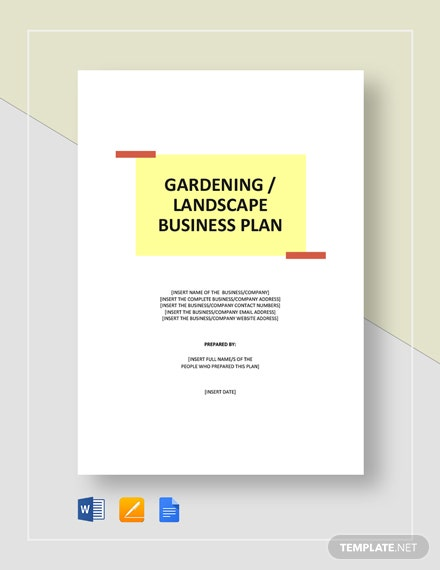 Gardening / Landscape Business Plan Template