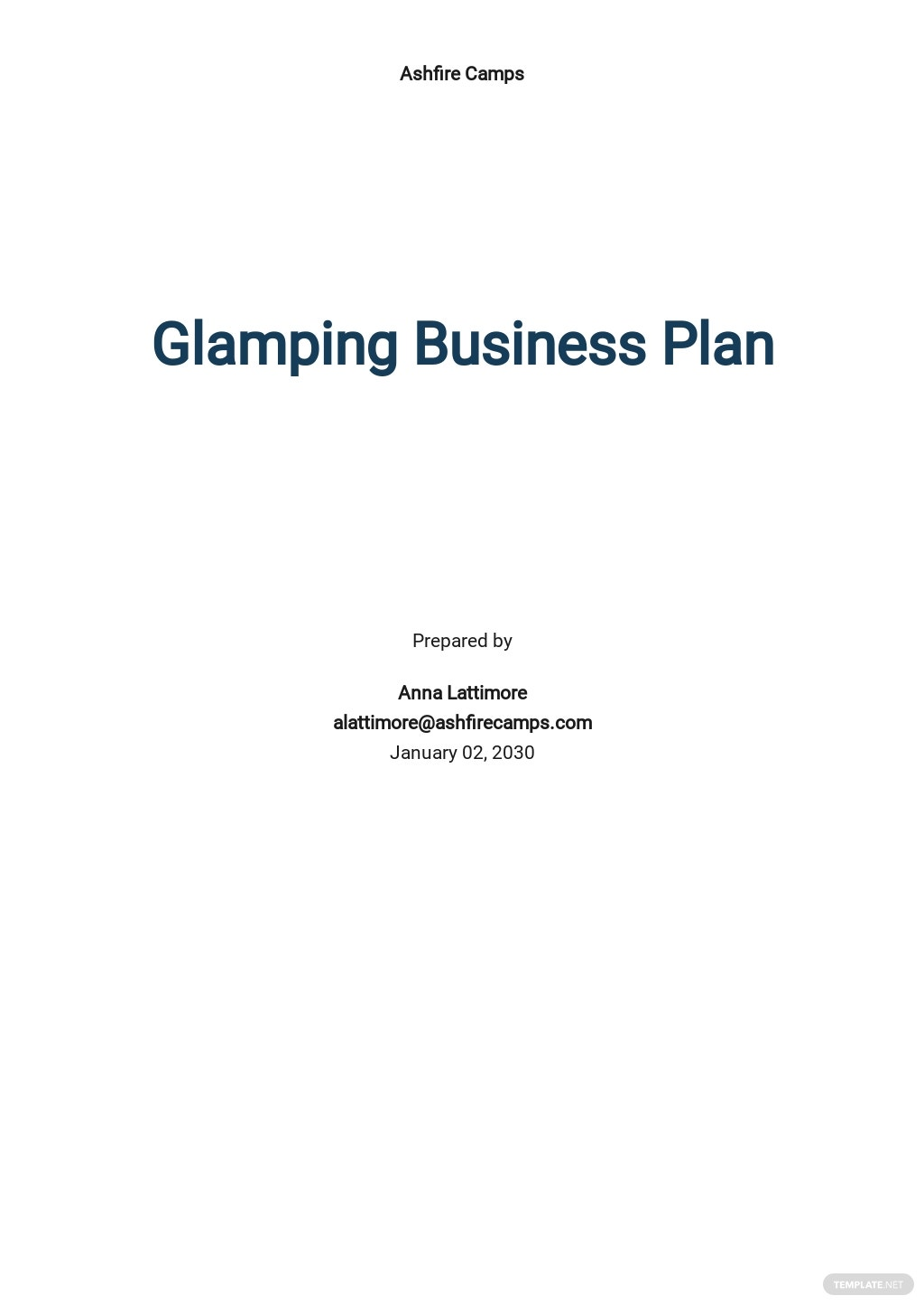 Glamping Business Plan Template