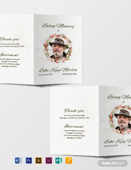 Free Catholic Floral Obituary Brochure Template