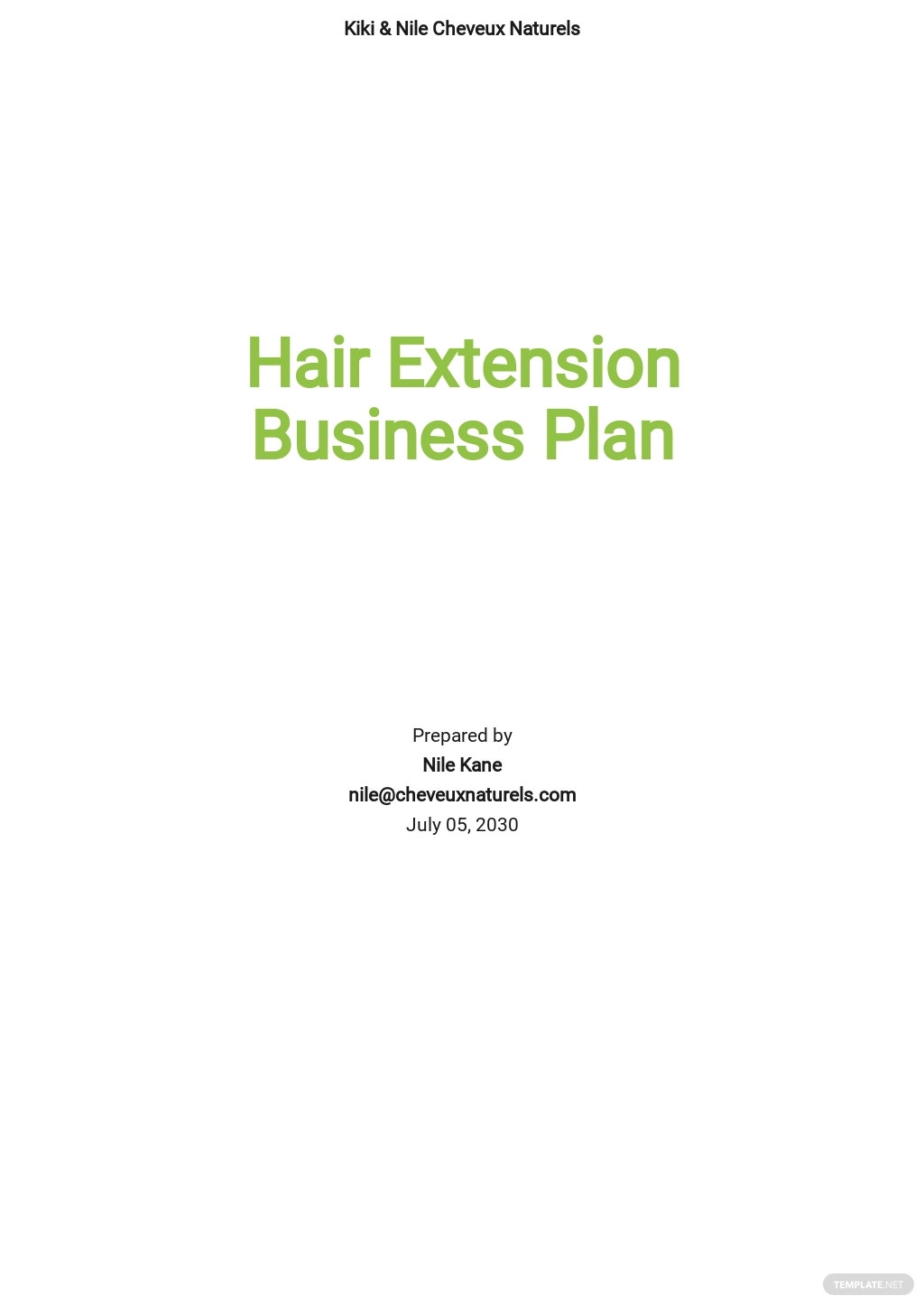 Hair Extension Business Plan Template