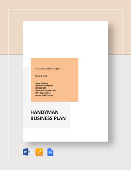 Handyman Business Plan Template