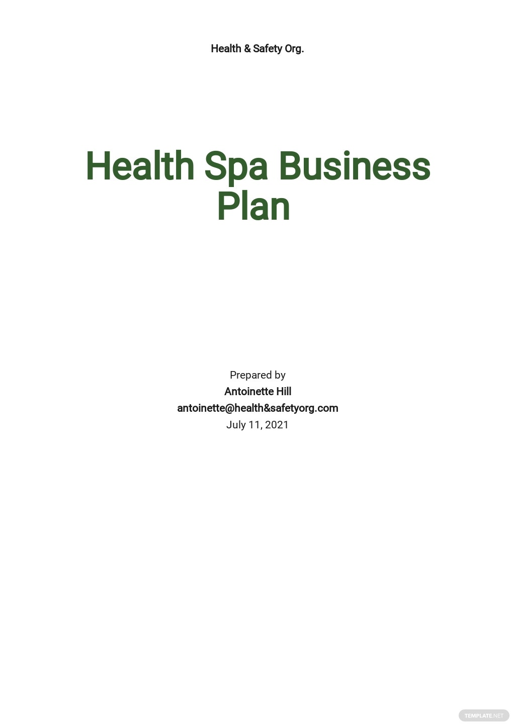 Health & Safety Business Plan Template