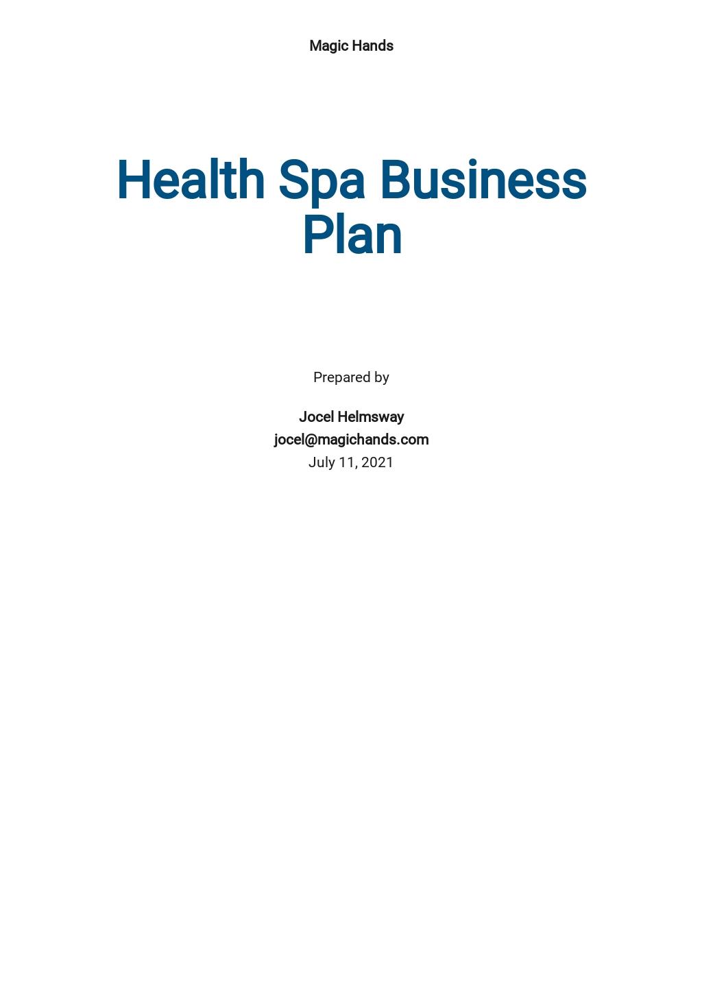 Health Spa Business Plan Template