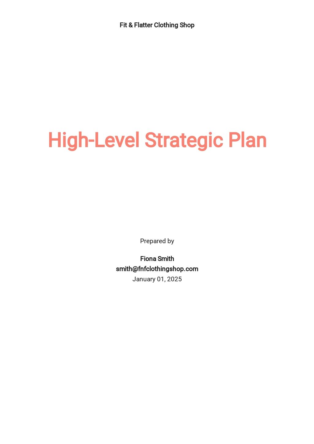 High-Level Strategic Plan Template