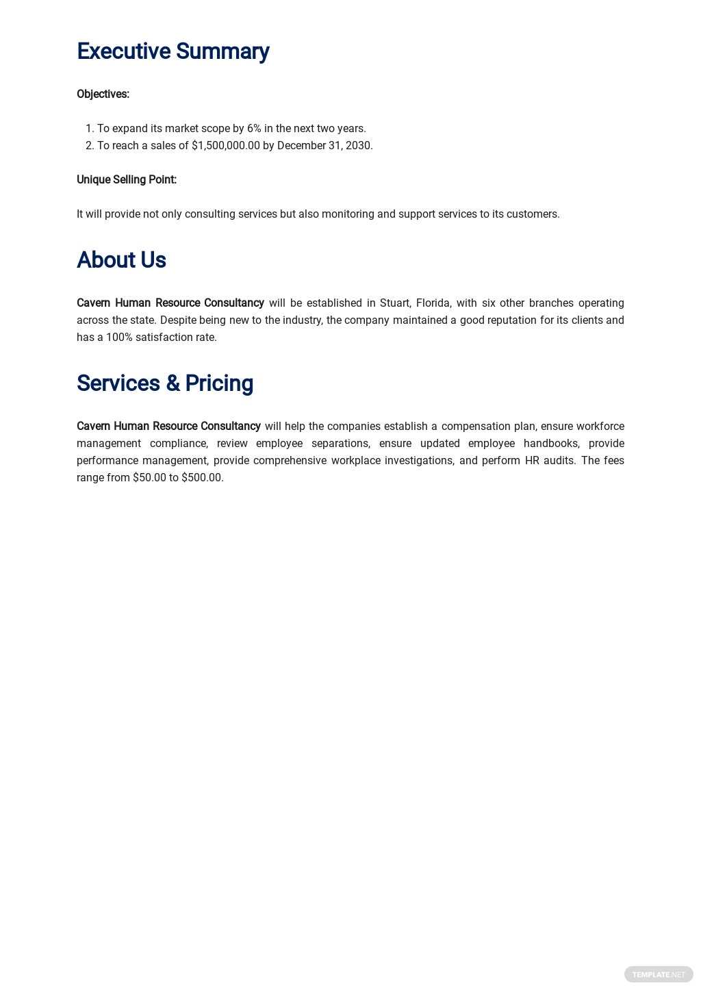 Sample Human Resources Consulting Business Plan 1.jpe