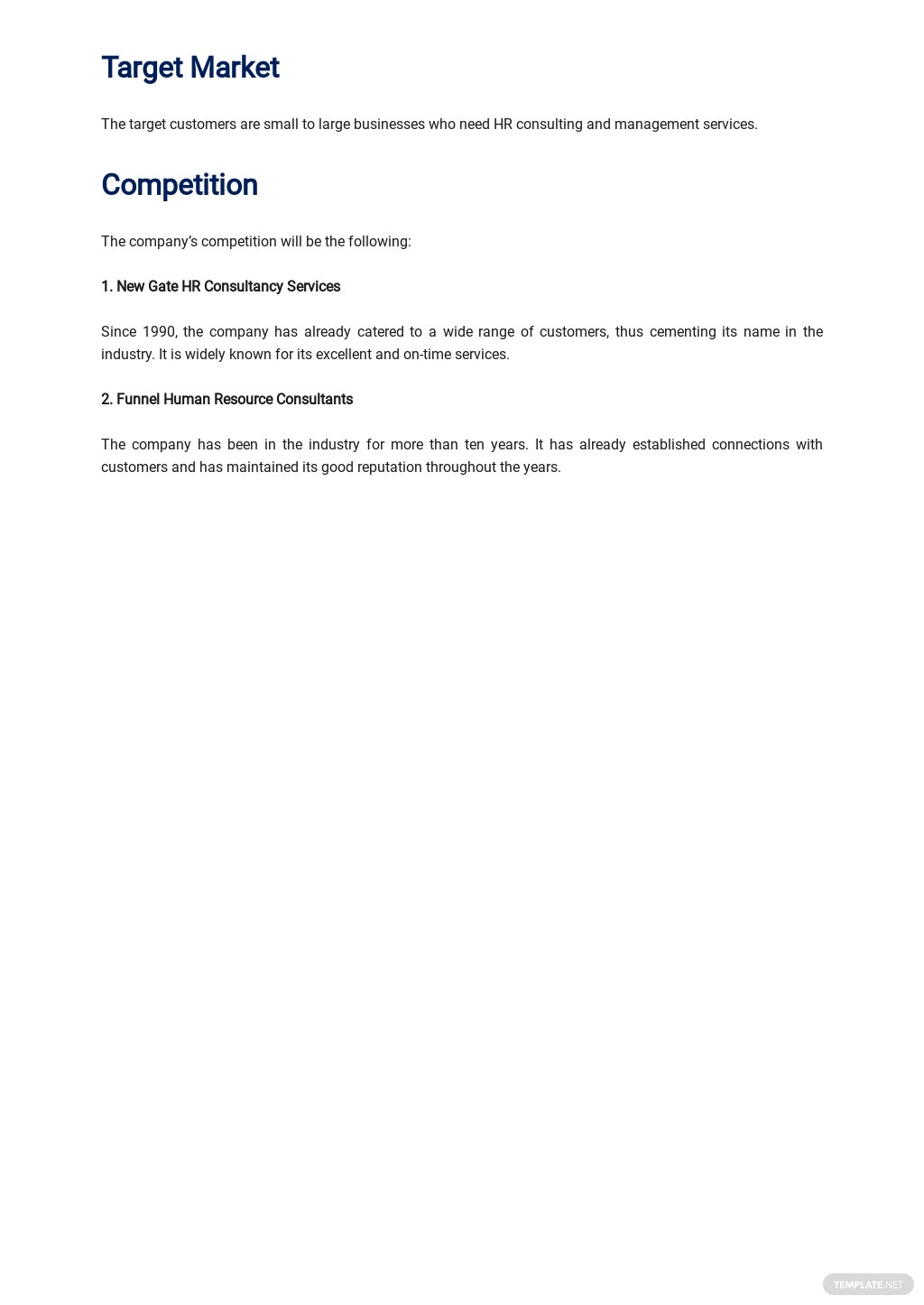 Sample Human Resources Consulting Business Plan 2.jpe