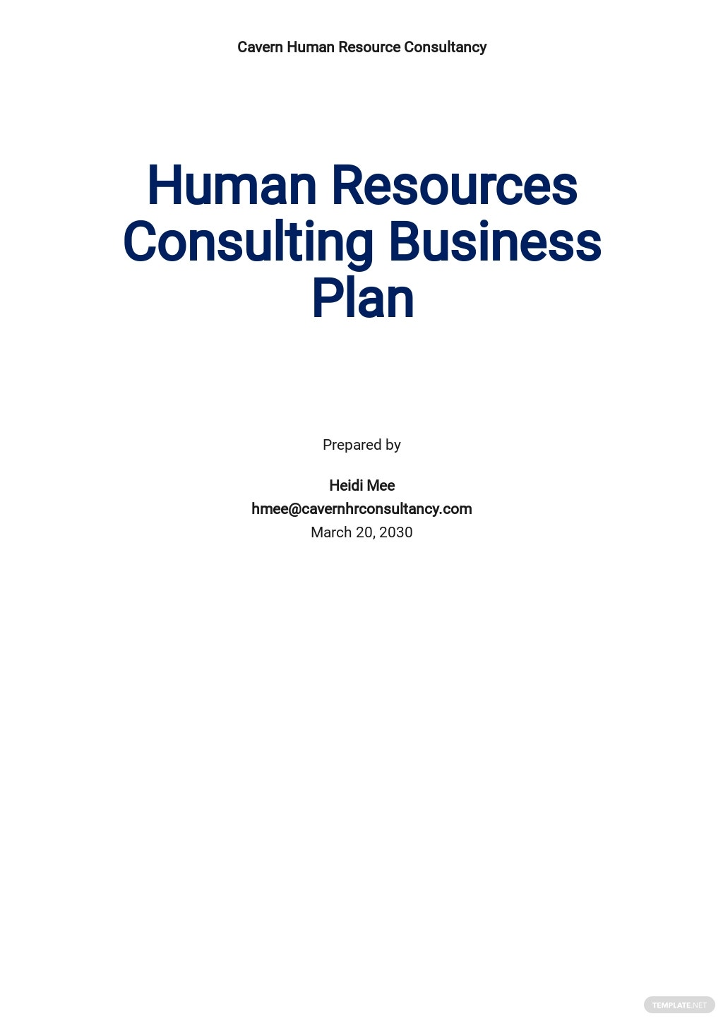 Sample Human Resources Consulting Business Plan Template