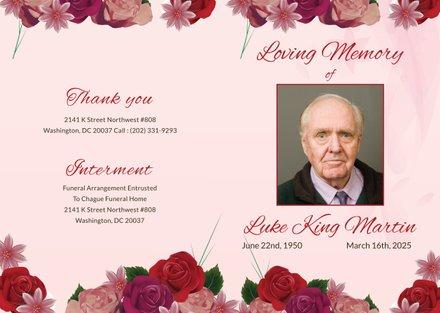 Free Floral Obituary Bi-fold Brochure Template