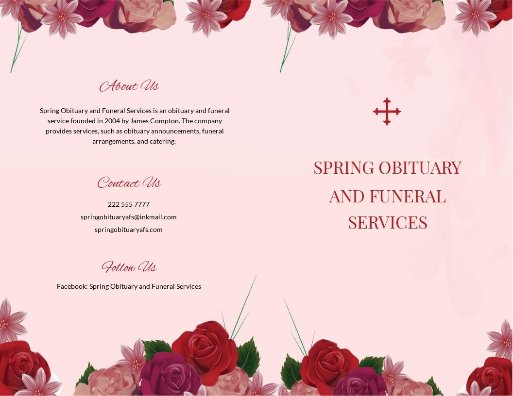 Floral Obituary Bi fold Brochure Template.jpe