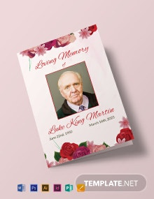Floral Obituary Bi-fold Brochure Template
