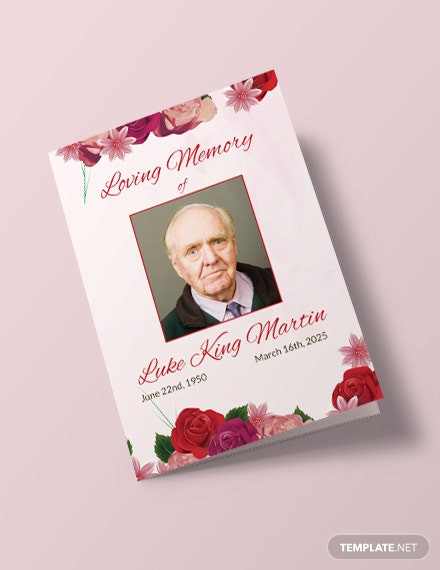 Free Floral Obituary Bi-fold Brochure Template