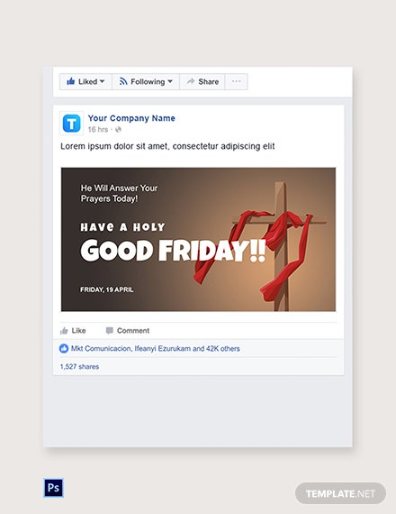 Free Good Friday Church Facebook Post Template