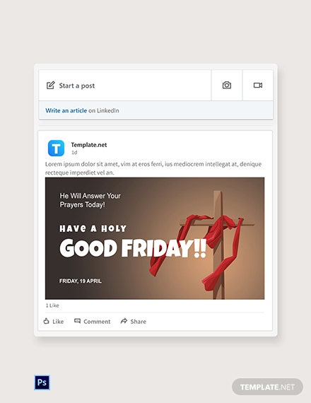 Free Good Friday Church  Linkedin Post Template