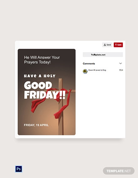 Free Good Friday Church  Pinterest Post Template