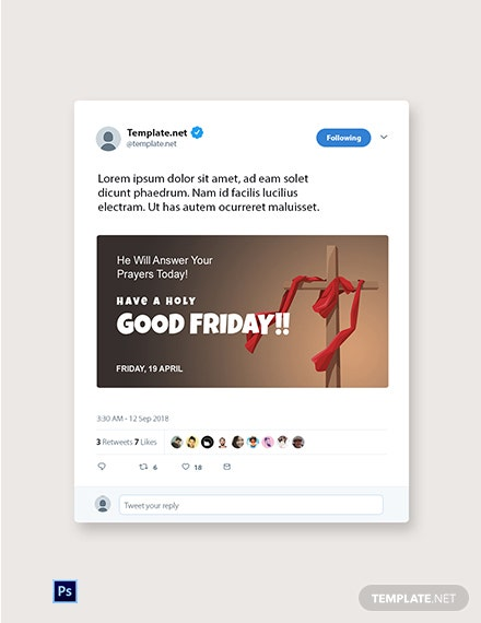 Free Good Friday Church Twitter Post Template